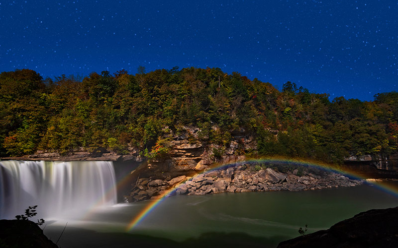 Moonbows, such as the one at Cumberland Falls, are rarer than the sun's rainbows.