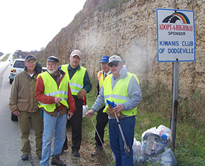 Each spring and fall, Dodgeville Kiwanians clean trash along a two-mile stretch of highway.