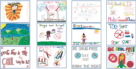 Winners of the Massapequa Schools anti-drug poster contest.