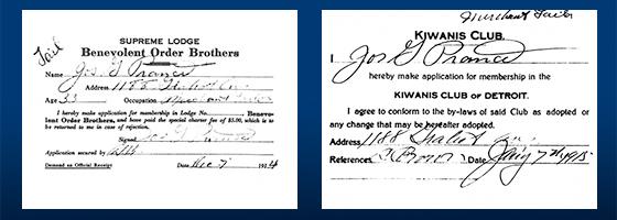 One month apart, Joseph Prance signed BOB and Kiwanis membership applications.