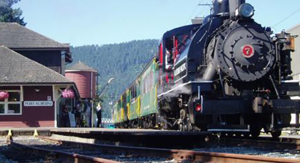 The Alberni Pacific Railway's no. 7 train is ready for Kiwanis passengers.