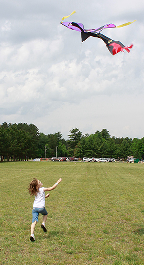 Kite flying is one of the summer Youth Outdoor Days activities.