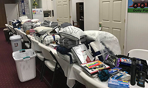 Items collected for distribution among students experiencing homelessness at the University of North Carolina in Pembroke.