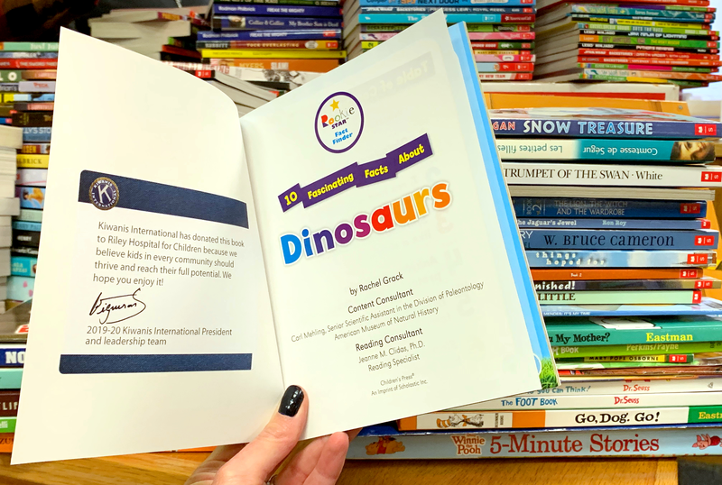 A book about dinosaurs was donated to a children's hospital