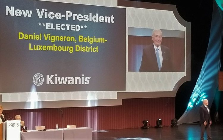 Delegates at the 2017 Kiwanis International convention in Paris elect Daniel Vigneron as vice president