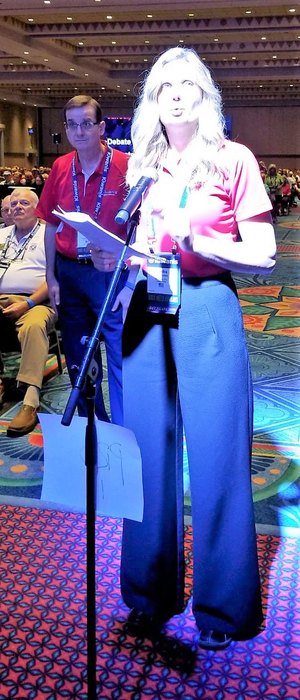 A delegate at the 2019 Kiwanis International Convention