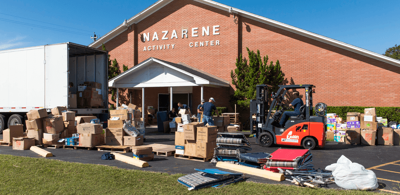 The supplies were donated to help families recover from Hurricane Harvey